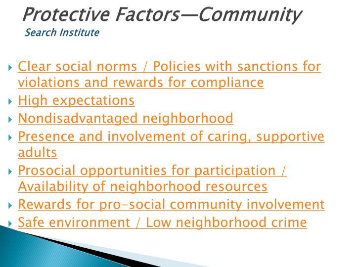 Protective Factors—Community