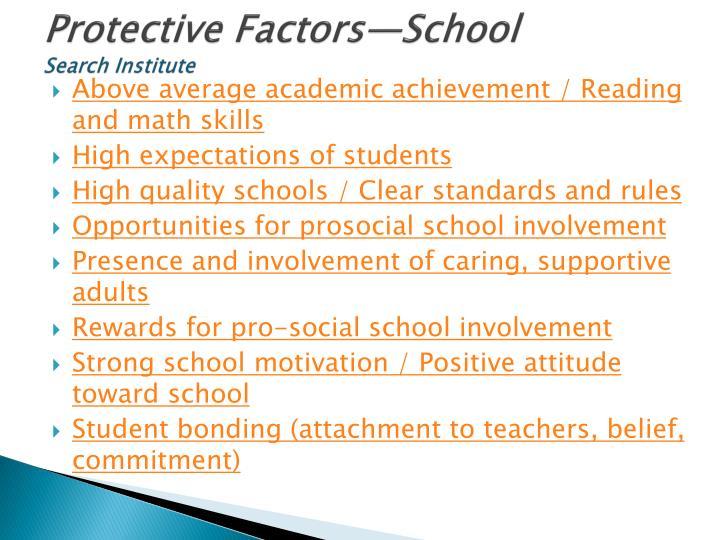 Protective Factors—School