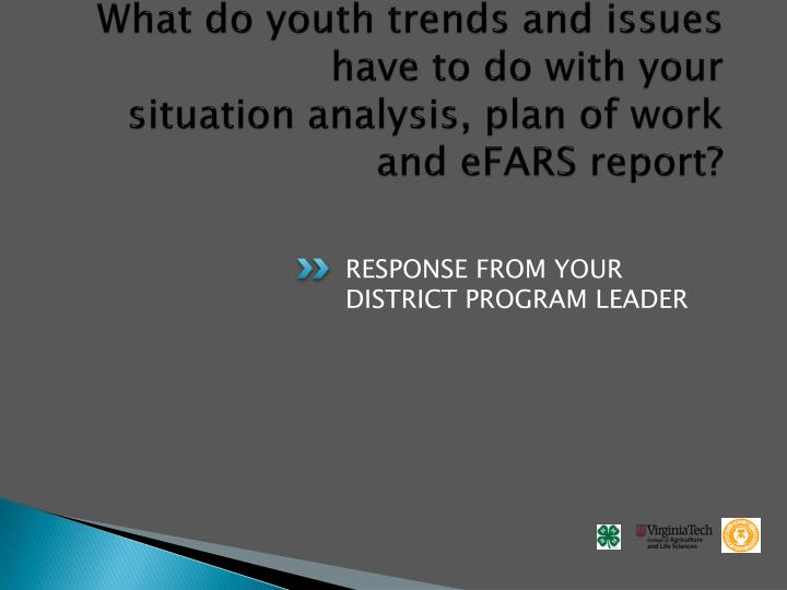 What do youth trends and issues have to do with your