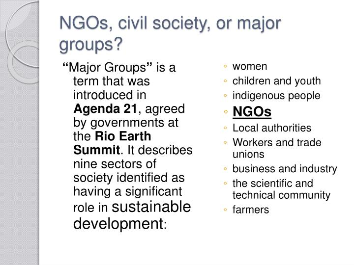NGOs, civil society, or major groups?