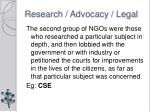 research advocacy legal