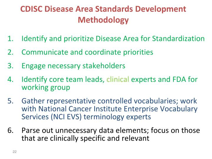 CDISC Disease Area Standards Development Methodology