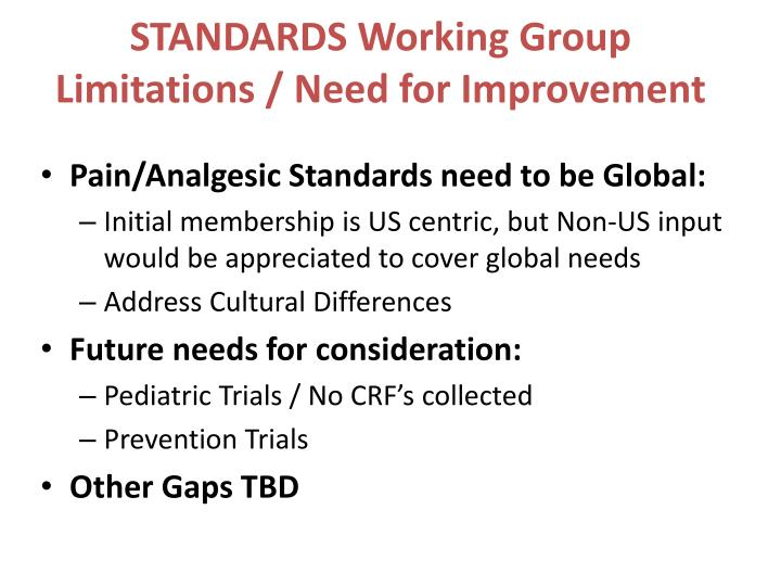 STANDARDS Working Group