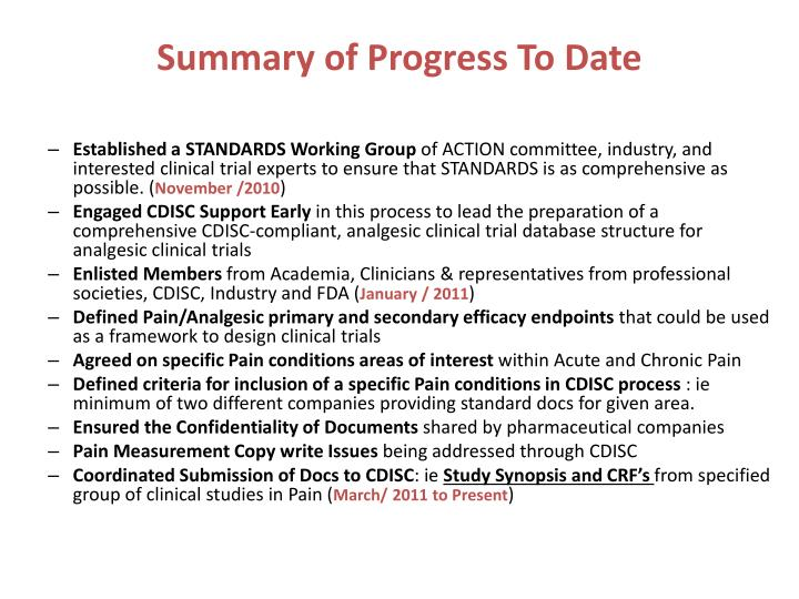 Summary of Progress To Date