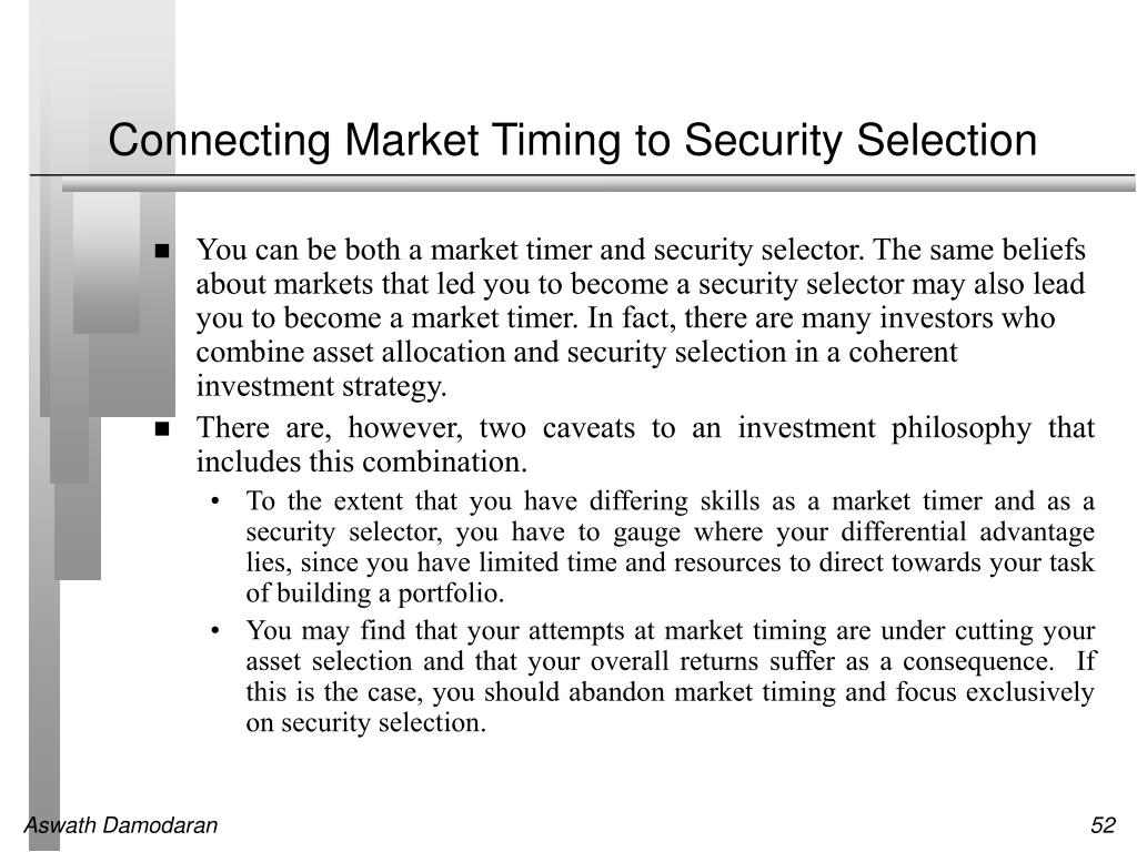 Connecting Market Timing to Security Selection
