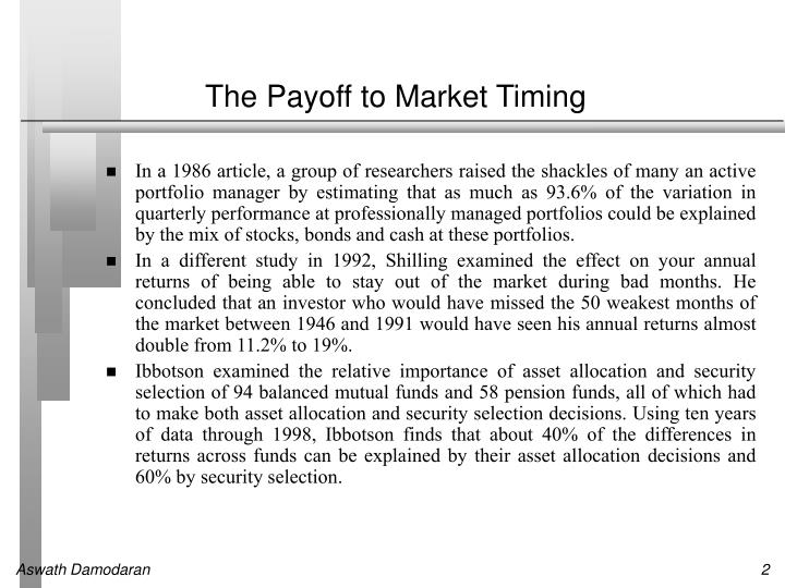 The payoff to market timing