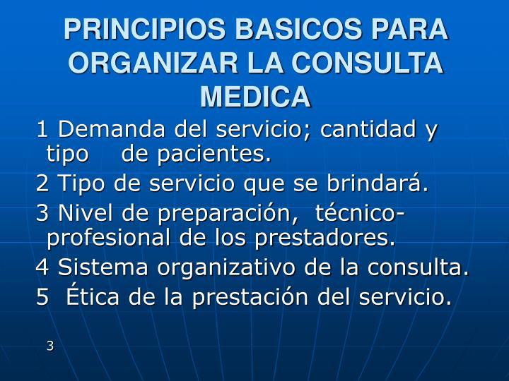 PRINCIPIOS BASICOS PARA ORGANIZAR LA CONSULTA MEDICA