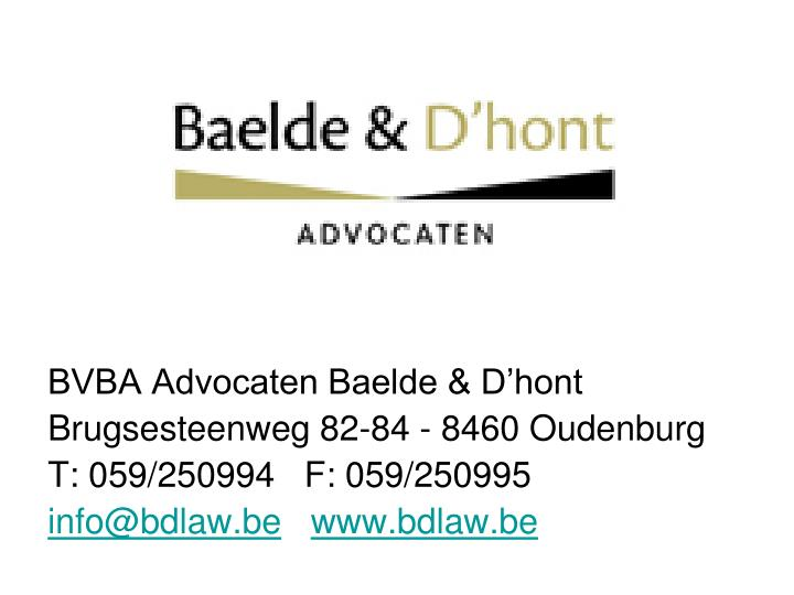 BVBA Advocaten Baelde & D'hont