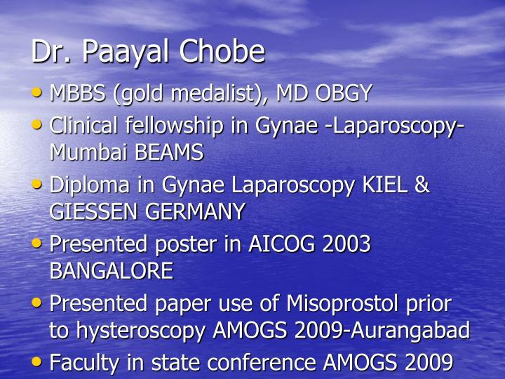 Dr. Paayal Chobe