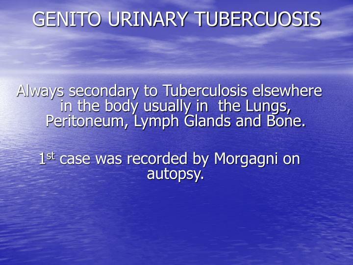 GENITO URINARY TUBERCUOSIS