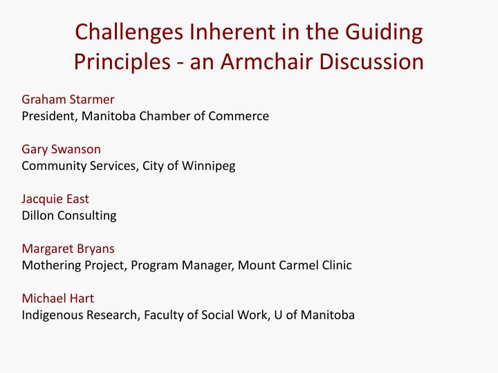 Challenges Inherent in the Guiding Principles - an Armchair Discussion