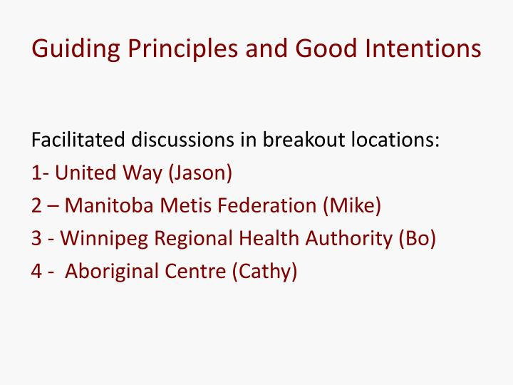 Guiding Principles and Good Intentions