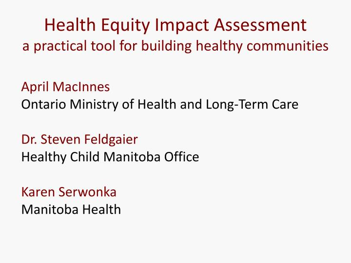 Health Equity Impact Assessment