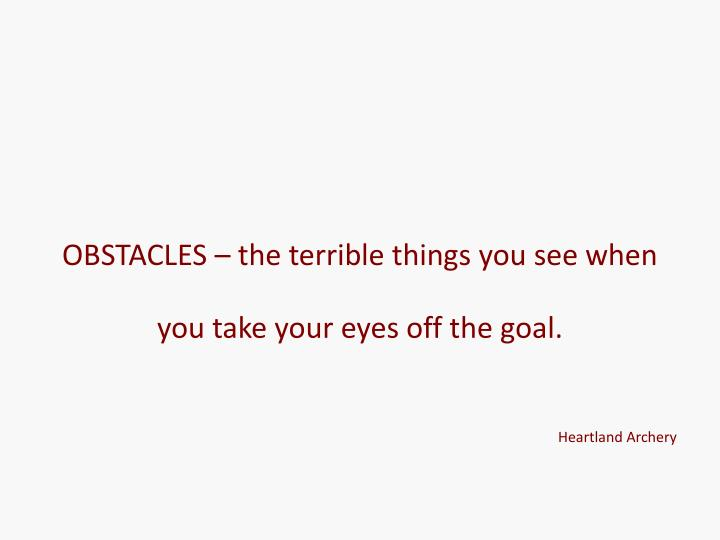 OBSTACLES – the terrible things you see when you take your eyes off the goal.