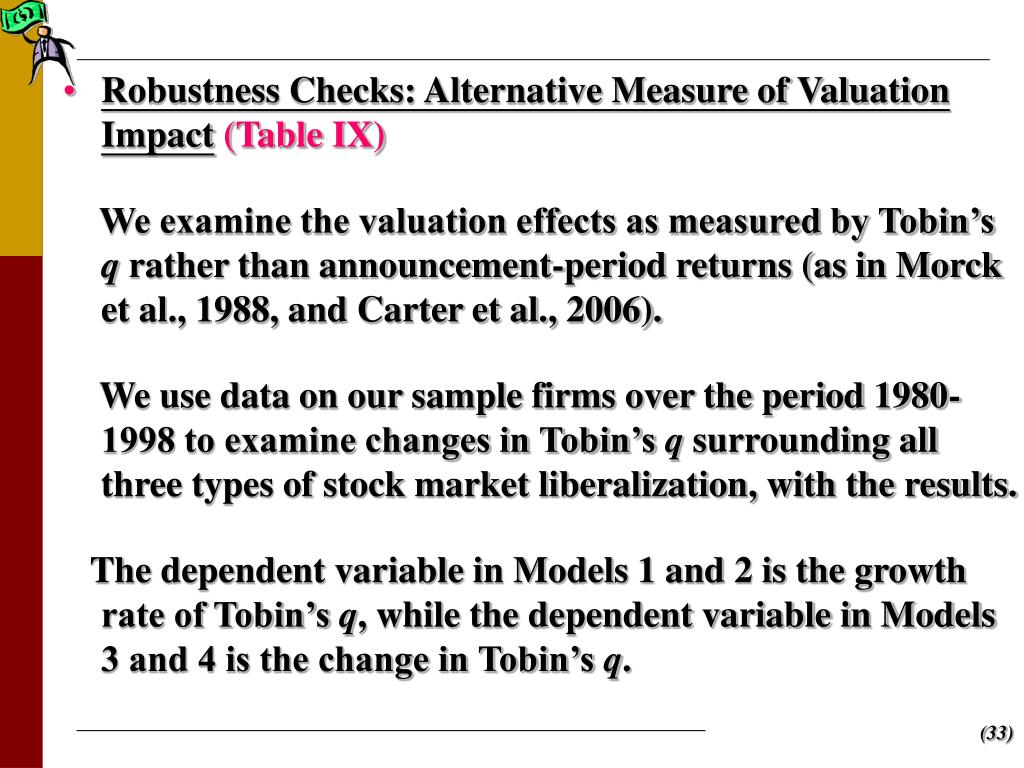 Robustness Checks: Alternative Measure of Valuation Impact