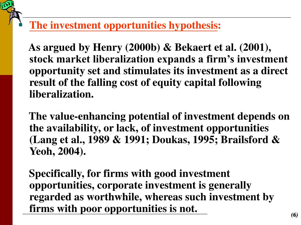 The investment opportunities hypothesis