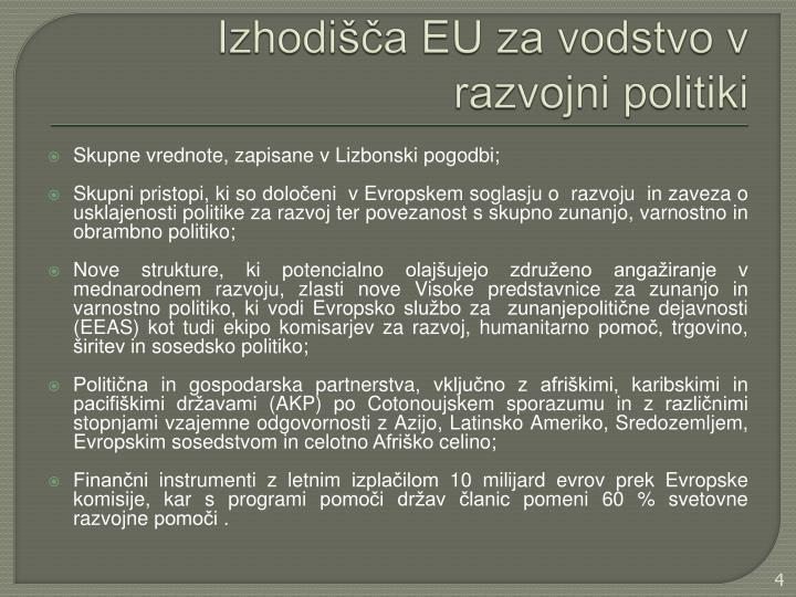 Izhodišča EU za vodstvo v razvojni politiki