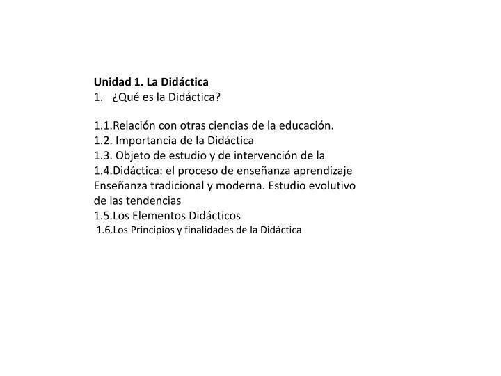 Unidad 1. La Didáctica