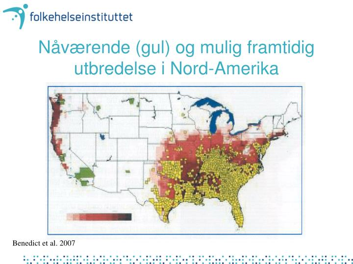 Nåværende (gul) og mulig framtidig utbredelse i Nord-Amerika