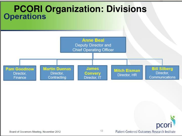 PCORI Organization: Divisions