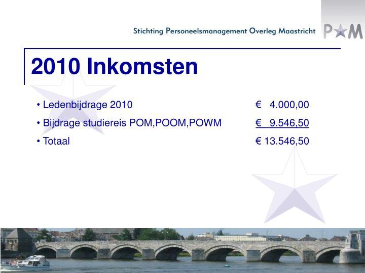 2010 Inkomsten