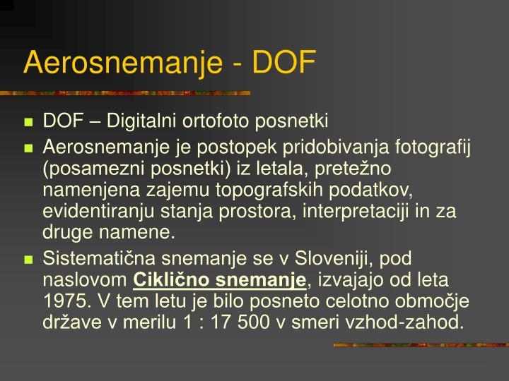 Aerosnemanje - DOF