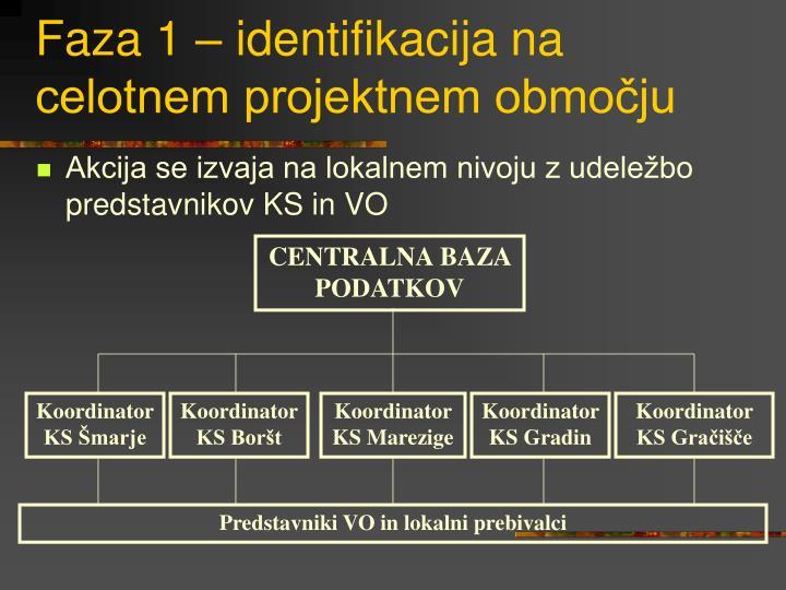 Faza 1 – identifikacija na celotnem projektnem območju