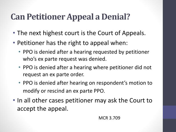 Can Petitioner Appeal a Denial?