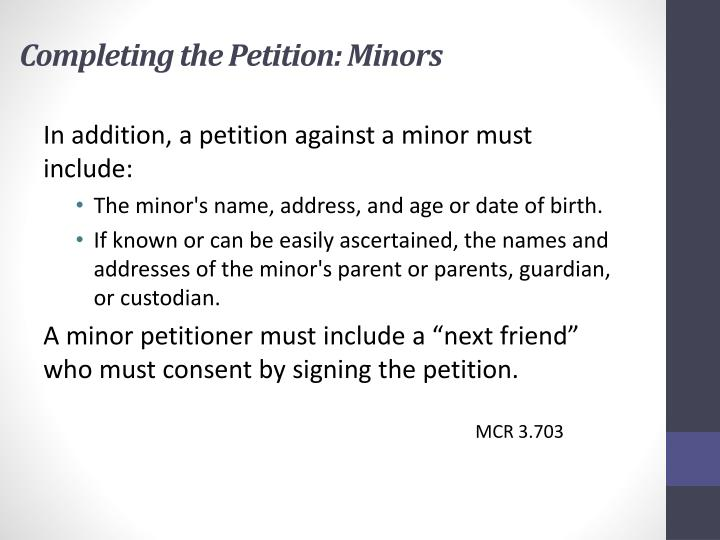 Completing the Petition: Minors