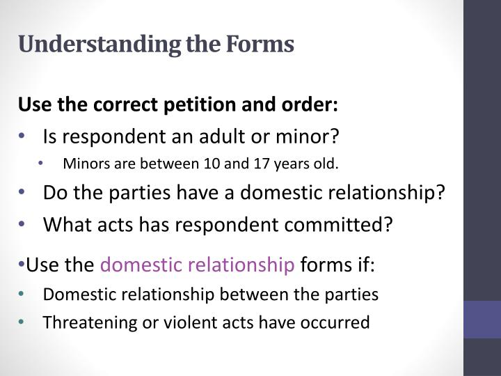 Understanding the Forms