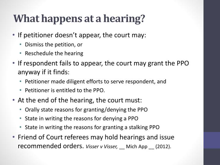 What happens at a hearing?