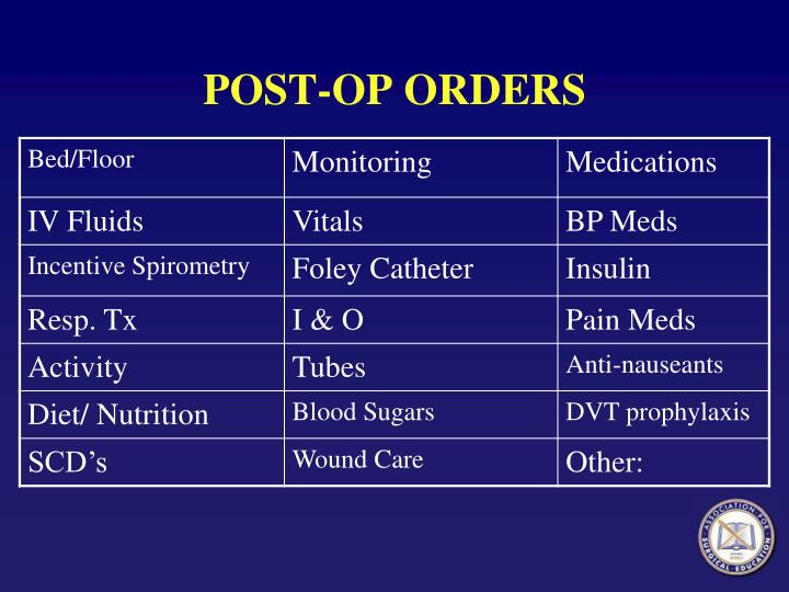 POST-OP ORDERS
