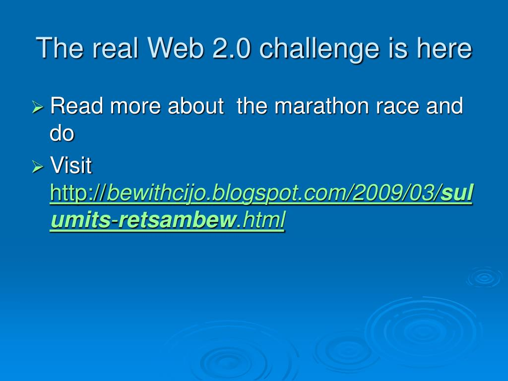 The real Web 2.0 challenge is here