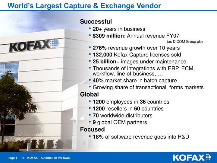 World's Largest Capture & Exchange Vendor