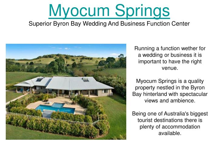 Myocum springs superior byron bay wedding and business function center