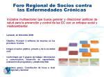 foro regional de socios contra las enfermedades cr nicas