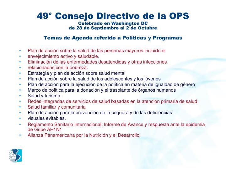 49° Consejo Directivo de la OPS