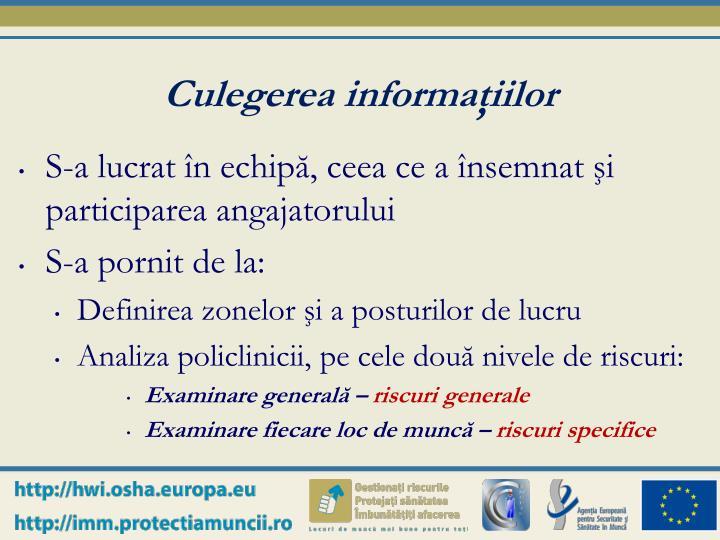 Culegerea informaţiilor