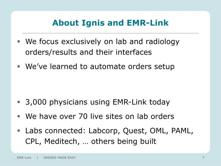 About Ignis and EMR-Link