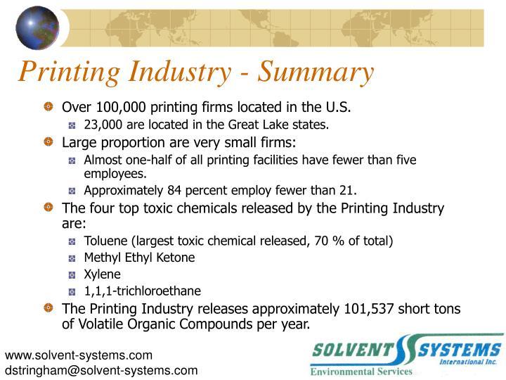 Printing Industry - Summary