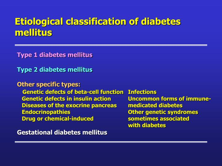 Etiological classification of diabetes