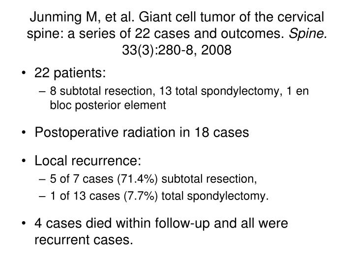 Junming M, et al. Giant cell tumor of the cervical spine: a series of 22 cases and outcomes.