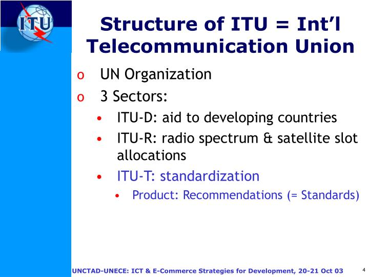 Structure of ITU = Int'l Telecommunication Union