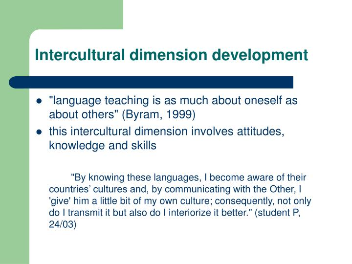 Intercultural dimension development