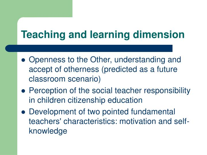 Teaching and learning dimension