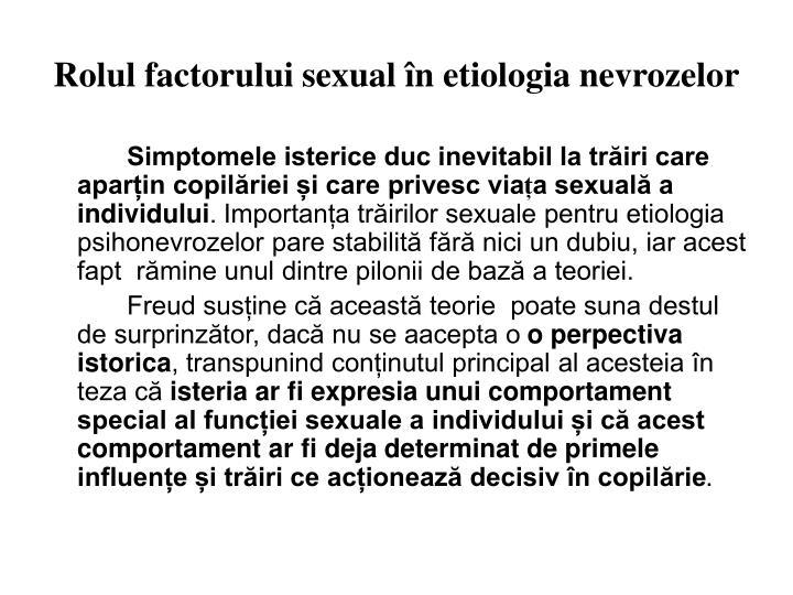 Rolul factorului sexual în etiologia nevrozelor