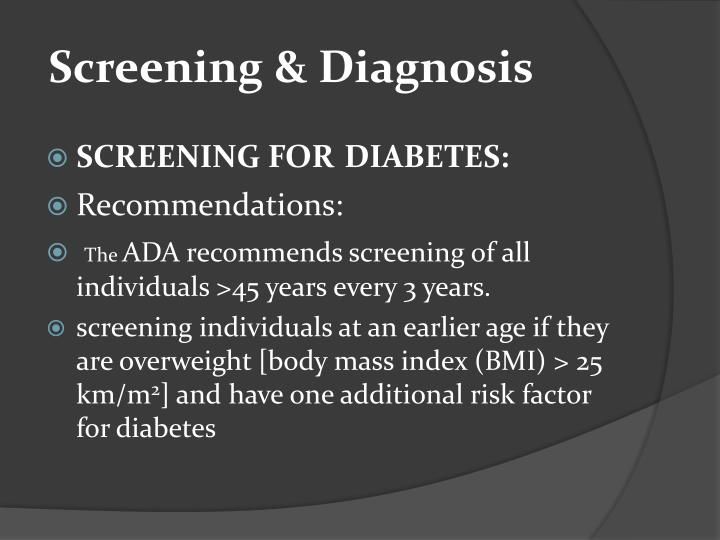 Screening & Diagnosis