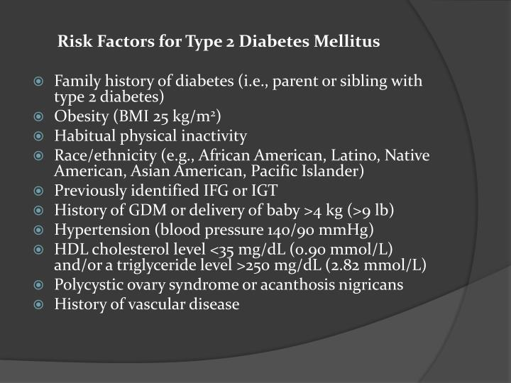 Risk Factors for Type 2 Diabetes Mellitus