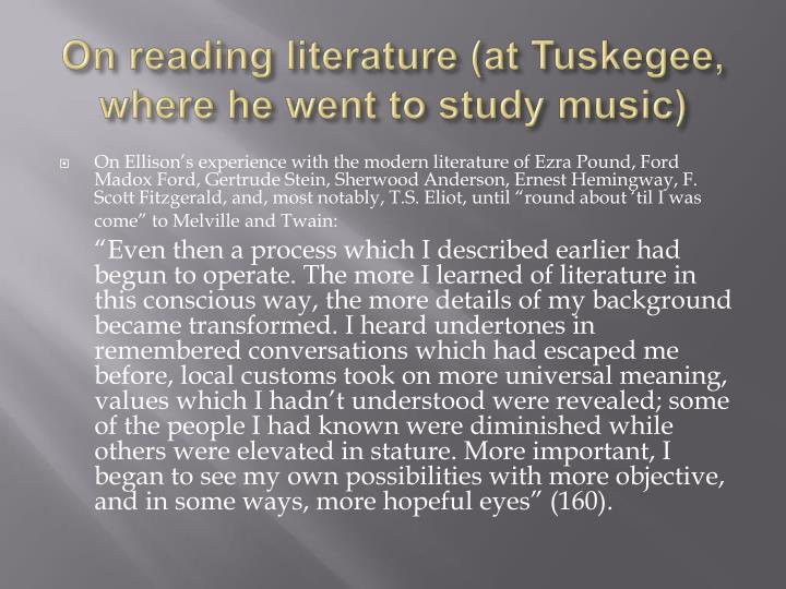 On reading literature at tuskegee where he went to study music