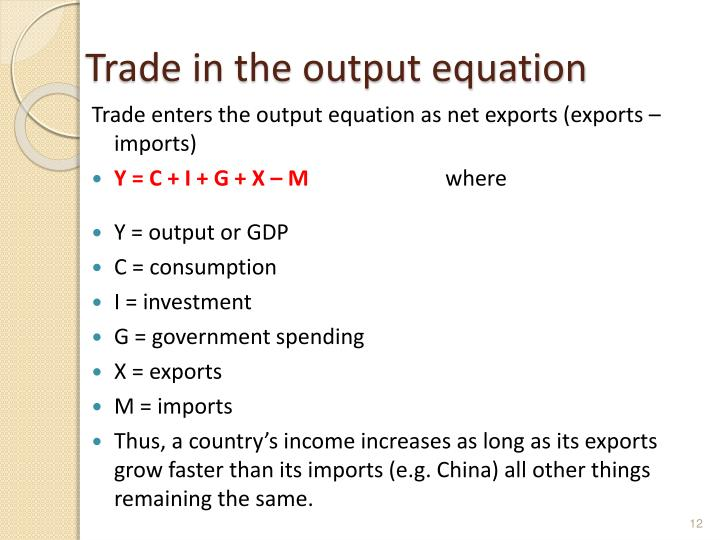 Trade in the output equation
